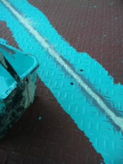 縞鋼板の重ね張り